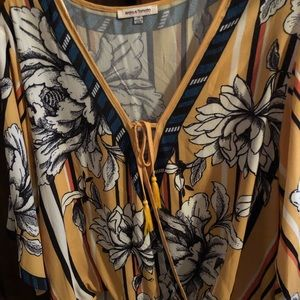 Beautiful yellow with white flowers blouse